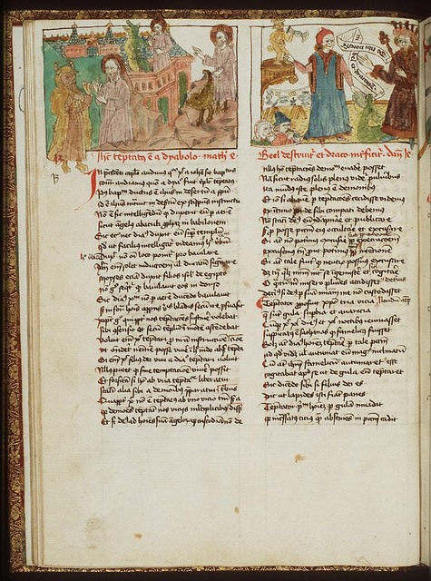 Daniel, who refuses to worship Bel, discusses the power of the god with King Cyrus; the priests of Bel feast on the food left for Bel; Daniel gives food to the dragon