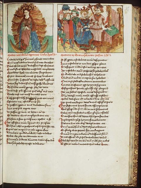 Solomon leading his mother Bathsheba to the throne
