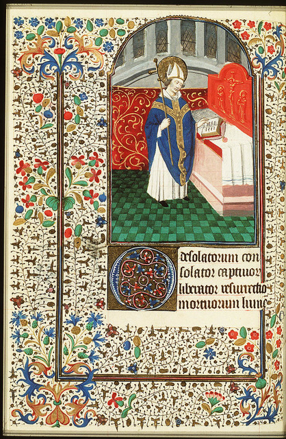St. Claudius, Bishop of Besançon, holding a crozier before an altar with a book
