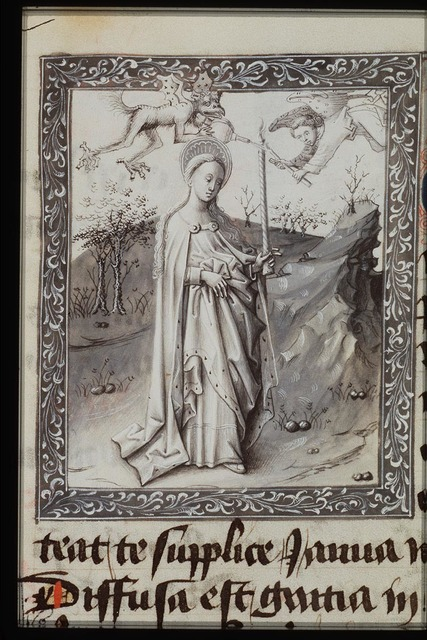 A demon blows out the candle of St. Genevieve (with bellows); an angel relights it