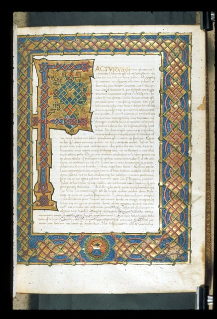 Illuminated initial from BL Harley 2663, f. 1