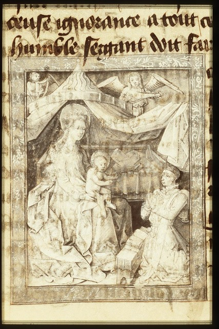 Philip the Good, Duke of Burgundy, kneeling before Mary holding the Christ-child