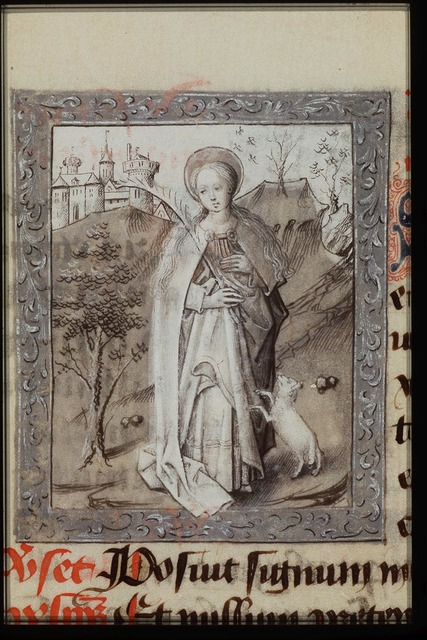 St. Agnes of Rome holding a palm, a lamb at her feet