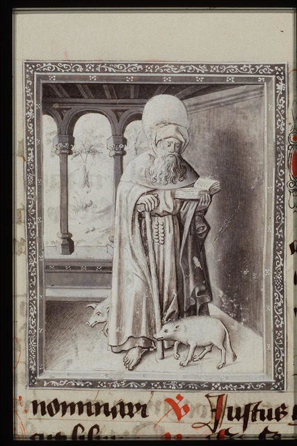 St. Antony Abbot of Egypt holding a T-shaped staff and a book, with two pigs