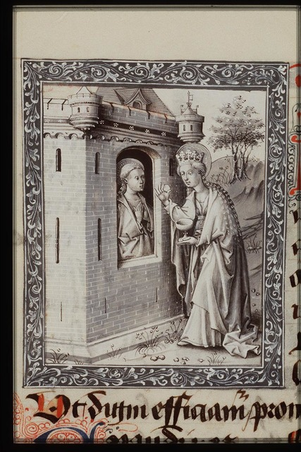 St. Avia of Paris in prison receives a host from Mary