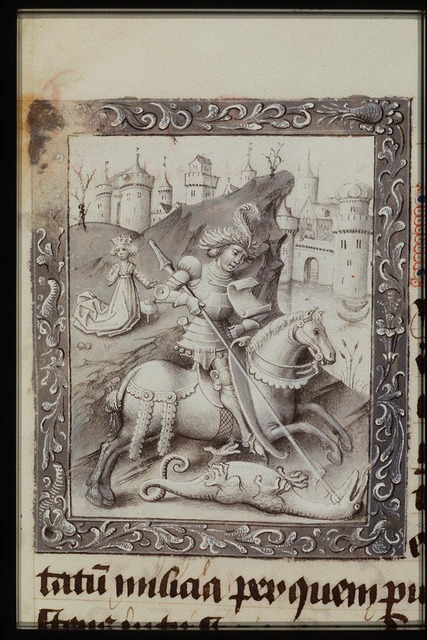 St. George on horseback fighting the dragon; the princess nearby with a sheep; the king and queen watching the scene from the city-walls