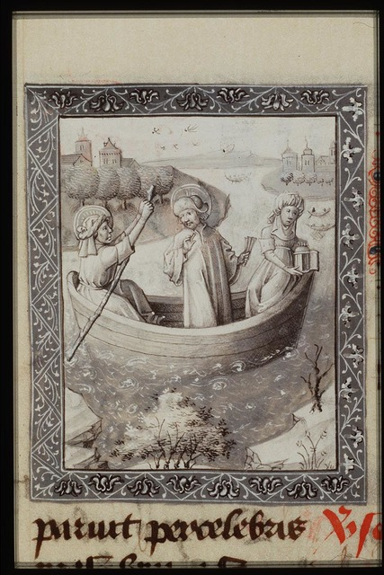 St. Julian the Hospitaller and his wife ferry Christ across the river in a boat