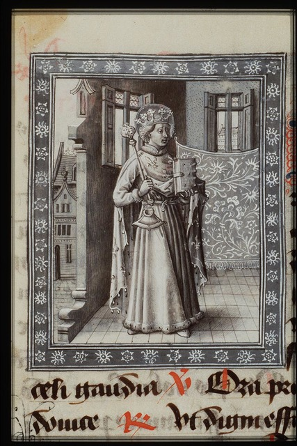 St. Louis of France holding a sceptre and a book