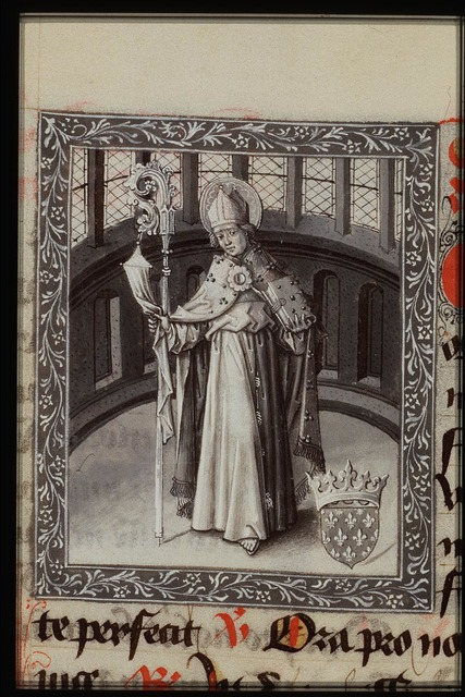 St. Louis of Marseilles holding a crozier and a book