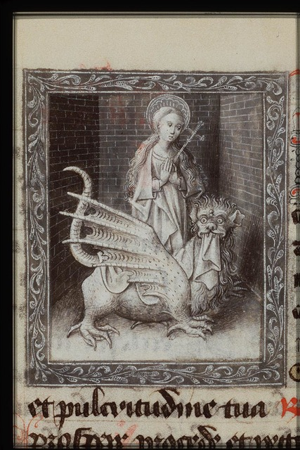 St. Margaret of Antioch with the dragon, holding a cross-staff