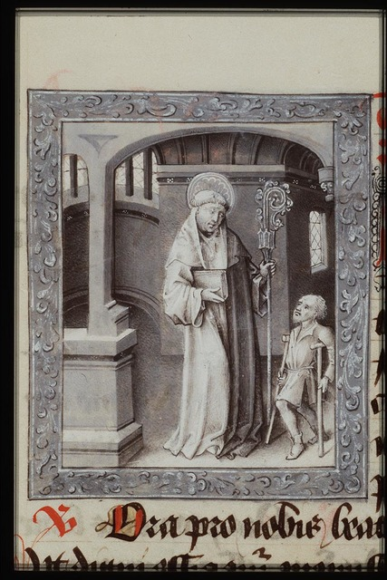 St. Maurus of Glanfeuil holding a book and a staff, with a cripple standing before him