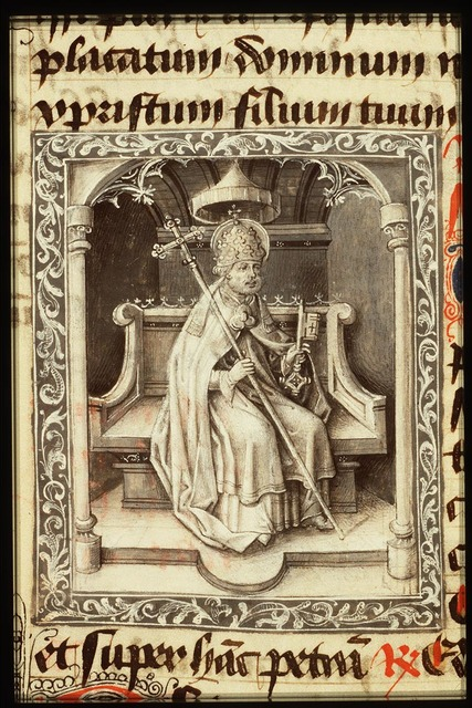 St. Peter enthroned, holding a key and a cross-staff