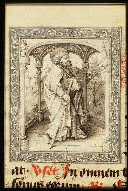 St. Simon Zelotes holding a saw and a book