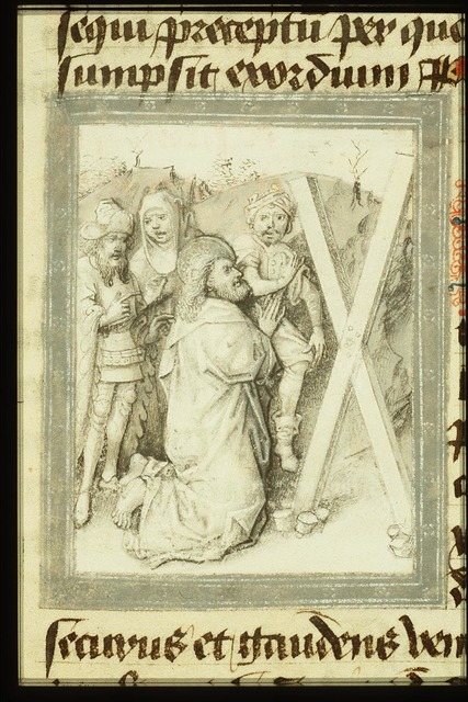 The martyrdom of St. Andrew: he kneels before the X-shaped cross