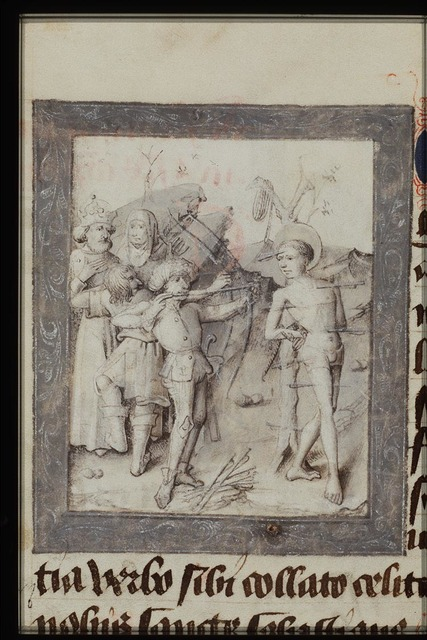 The martyrdom of St. Sebastian: tied to a tree, he is pierced by arrows