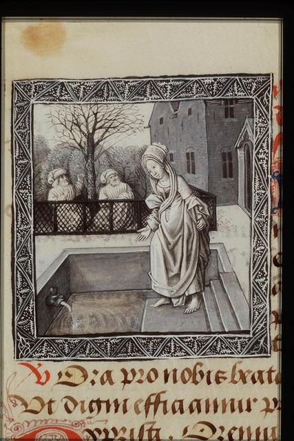 The two elders spy upon Susanna walking in the garden