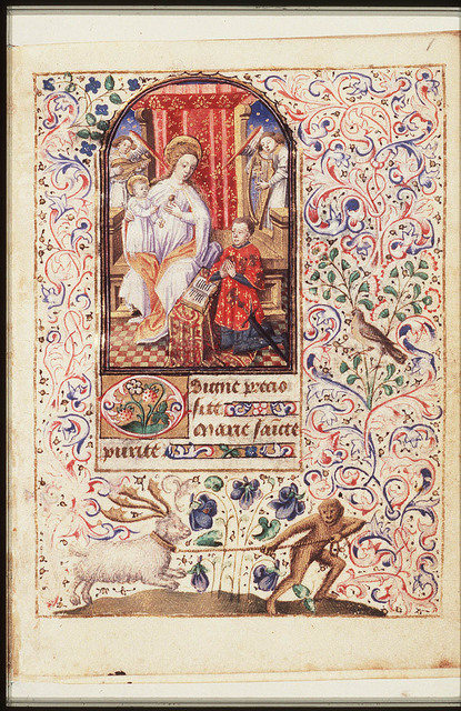 Madonna: Mary enthroned, holding the Christ-child, with Simon de Varie kneeling before her