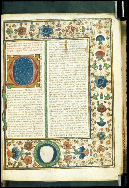 Full border and decorated initial from BL Harley 4342, f. 1