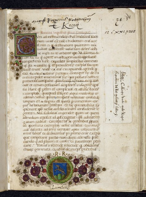 Decorated initial and arms from BL Royal 12 C XXI, f. 1