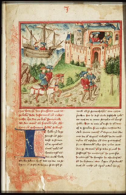 Jean Froissart and Espaing de Lyon on their way; Gaston Phébus receiving them
