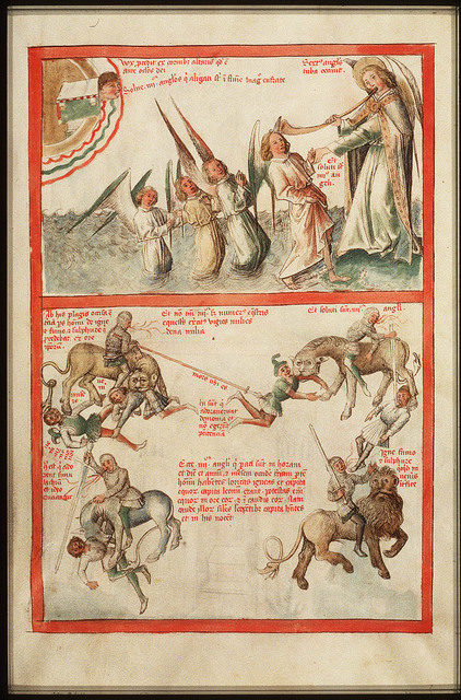 Sixth trumpet: an army of horsemen who are breathing fire and smoke and riding horses with heads as lions (2nd of 2)