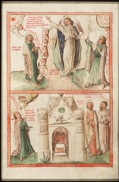 St. John the Evangelist receives the ruler to measure the temple; the two witnesses of God, Enoch and Elijah (2nd of 2)