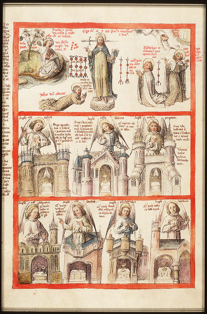 The Evangelist St. John on Patmos; Christ between seven candlesticks appears to St. John, who falls to the ground: a sword is behind Christ's head and he holds seven stars and two keys in his hands; St. John adores Christ; An angel sent by Christ appears to St. John (1st of 3)