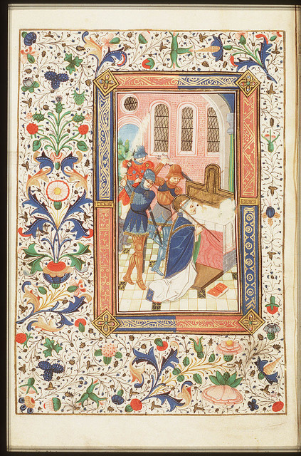 The martyrdom of St. Thomas Becket of Canterbury: he is stabbed before the altar