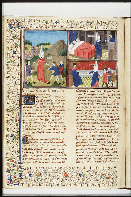 A woman giving something to a man at a window, while gesturing towards a sick person in a bed: Humanity (2nd of 3)