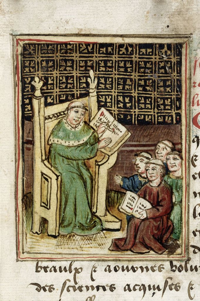 Master and scholars from BL Royal 19 A IX, f. 4