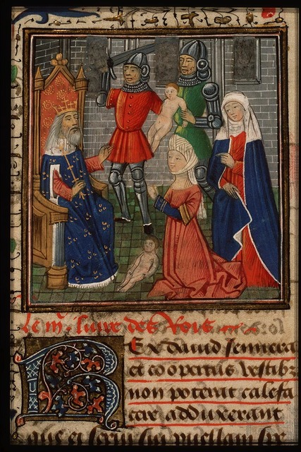 The judgement of Solomon: Solomon gives verdict; he commands a soldier to divide the living child in two; the true mother objects