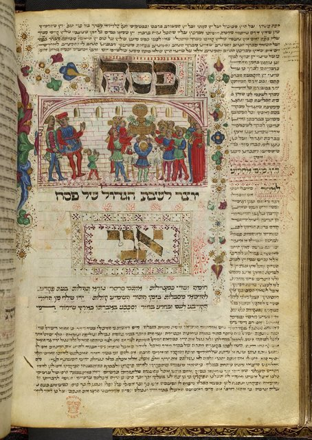 Passover Eve celebration from BL Harley 5686, f. 61v