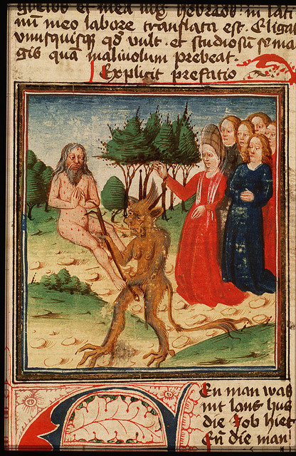 Job on the dung-hill is tormented by his wife and the devil