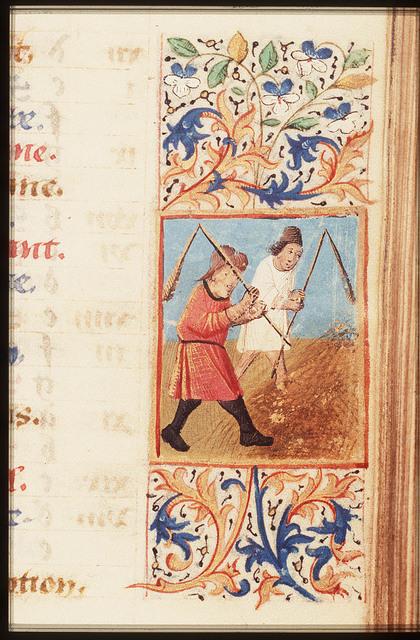 August: two men threshing