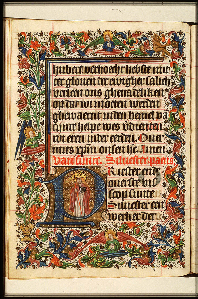 St. Sylvester, Bishop of Rome, holding a cross-staff and a book