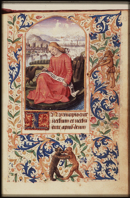 The Evangelist St. John writing on the island of Patmos, with his symbol the eagle