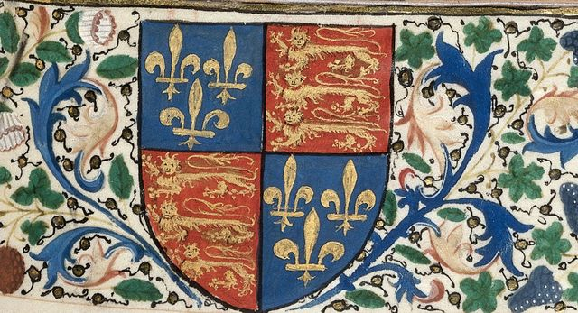 Arms of England from BL Royal 18 D IX, f. 173