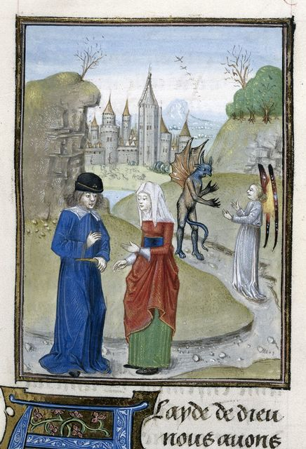 Man and woman from BL Royal 15 E II, f. 38