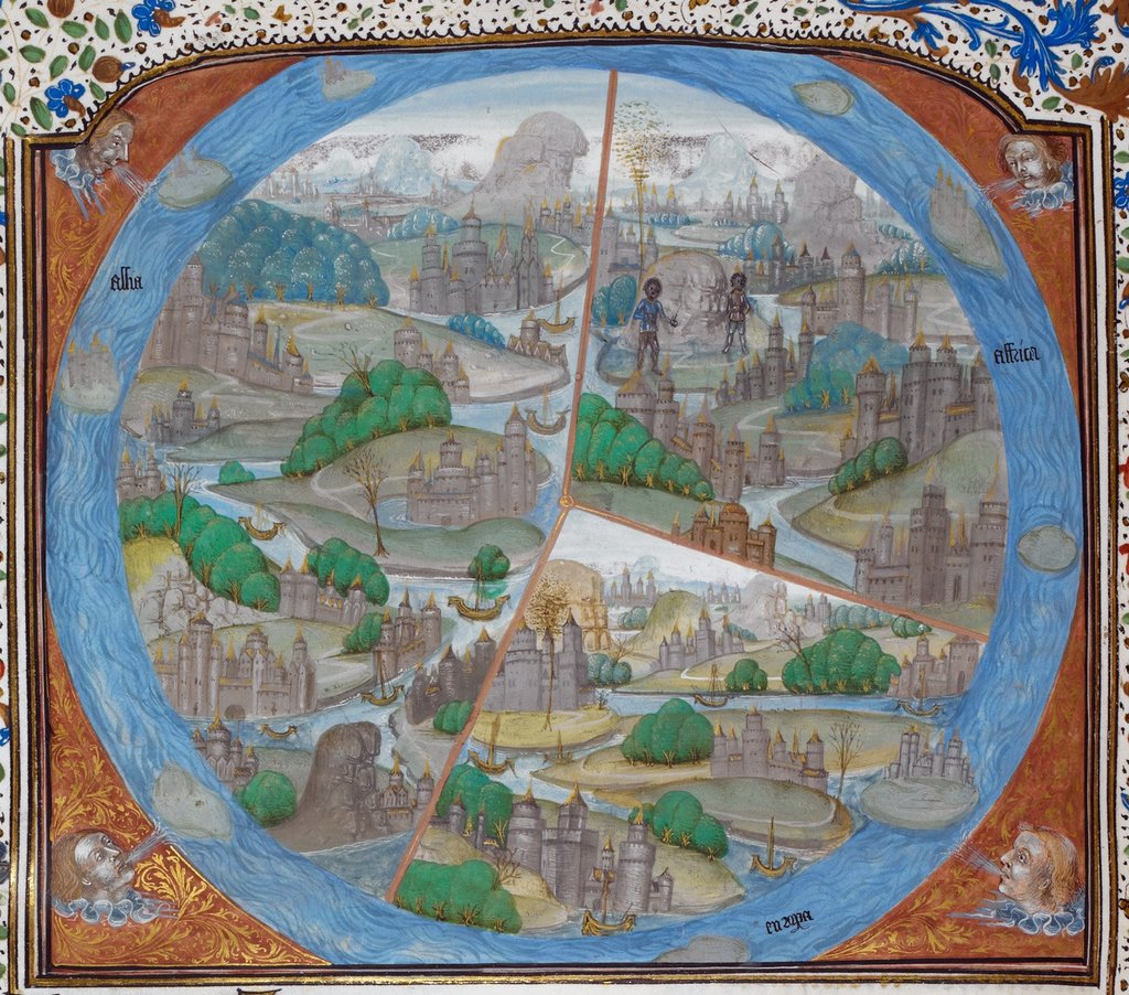 Map of the world from BL Royal 15 E III, f. 67v