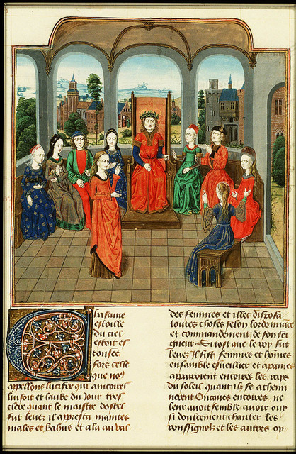 Dioneo, king of the seventh day, and Florentines listen to Emilia's tale