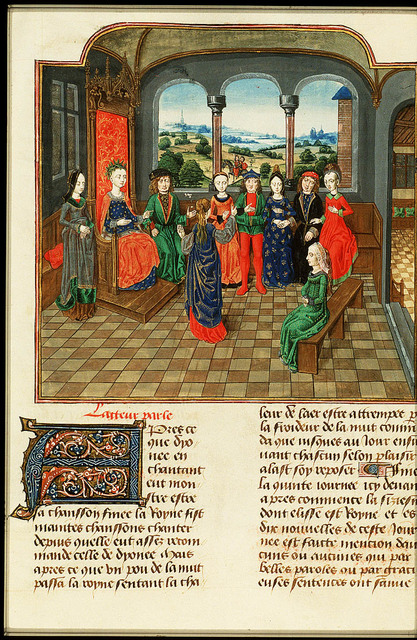 Elisa, queen of the sixth day, and Florentines listen to Filomena's tale