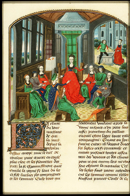 Emilia, queen of the ninth day, and Florentines listen to Filomena's tale
