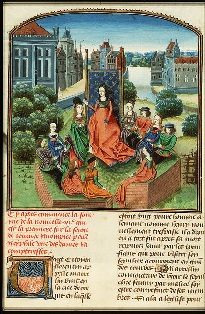 Filomena, queen of the second day, and Florentines listen to Neifile's tale