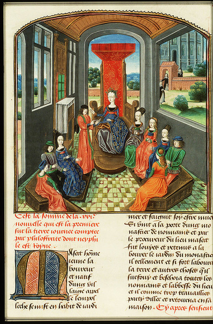 Neifile, queen of the third day, and Florentines listen to Filostrato's tale
