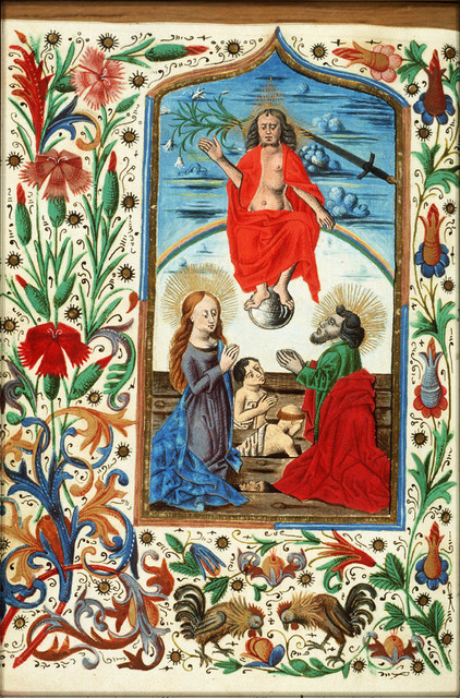 The Last Judgement: Christ on a rainbow raises the dead in the presence of Mary and St. John the Baptist
