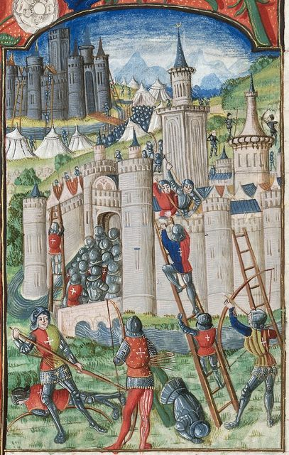 Assault on a city and castle from BL Royal 20 E III, f. 30v