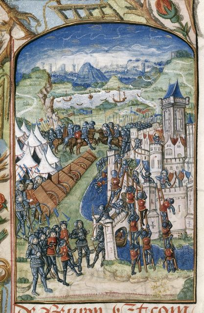 Attack on St James in Normandy from BL Royal 20 E VI, f. 20