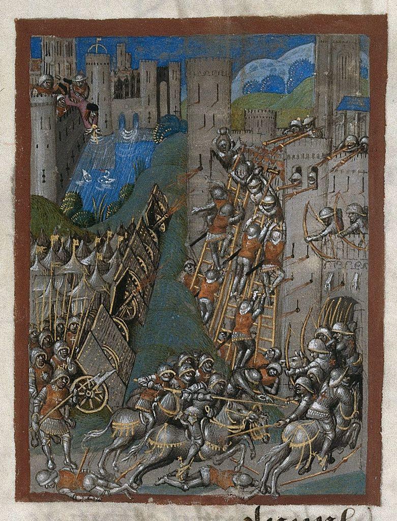 Siege of Montargis from BL Royal 20 E VI, f. 22