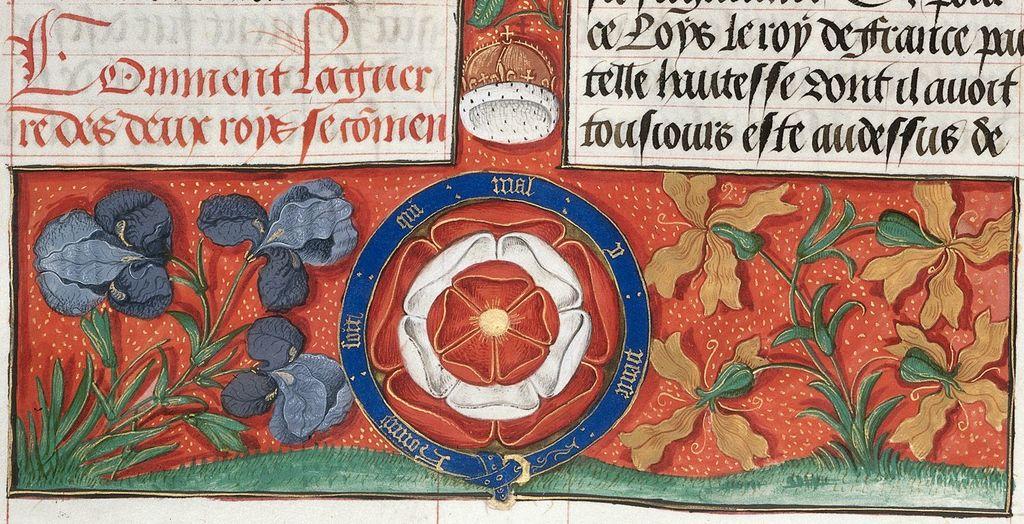 Tudor rose from BL Royal 20 E III, f. 30v