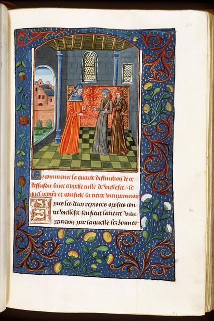 Cato Maior disputing with Scipio Minor and Caius Laelius on old age